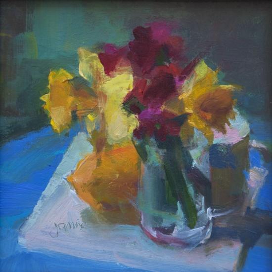 Janine Dunn Wade, %22Daffodils, Lemon and Light,%22 8 x 8, oil on matte board.jpg