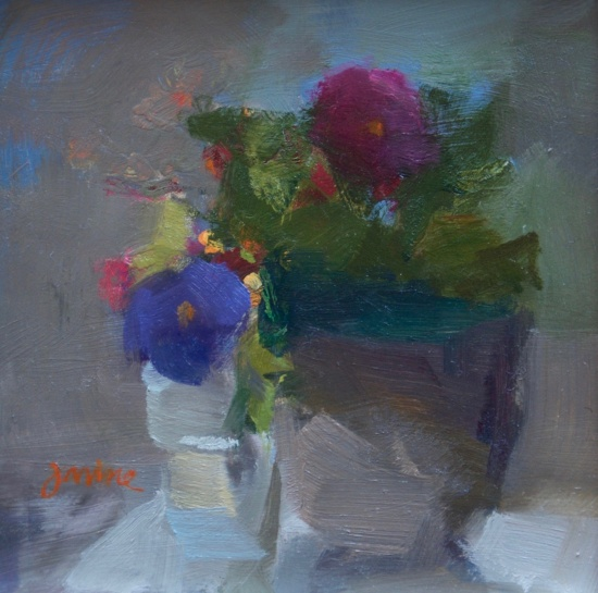 Janine Dunn Wade, %22Pansies and all that Jazz,%22 6 x 6%22, oil on board.jpg