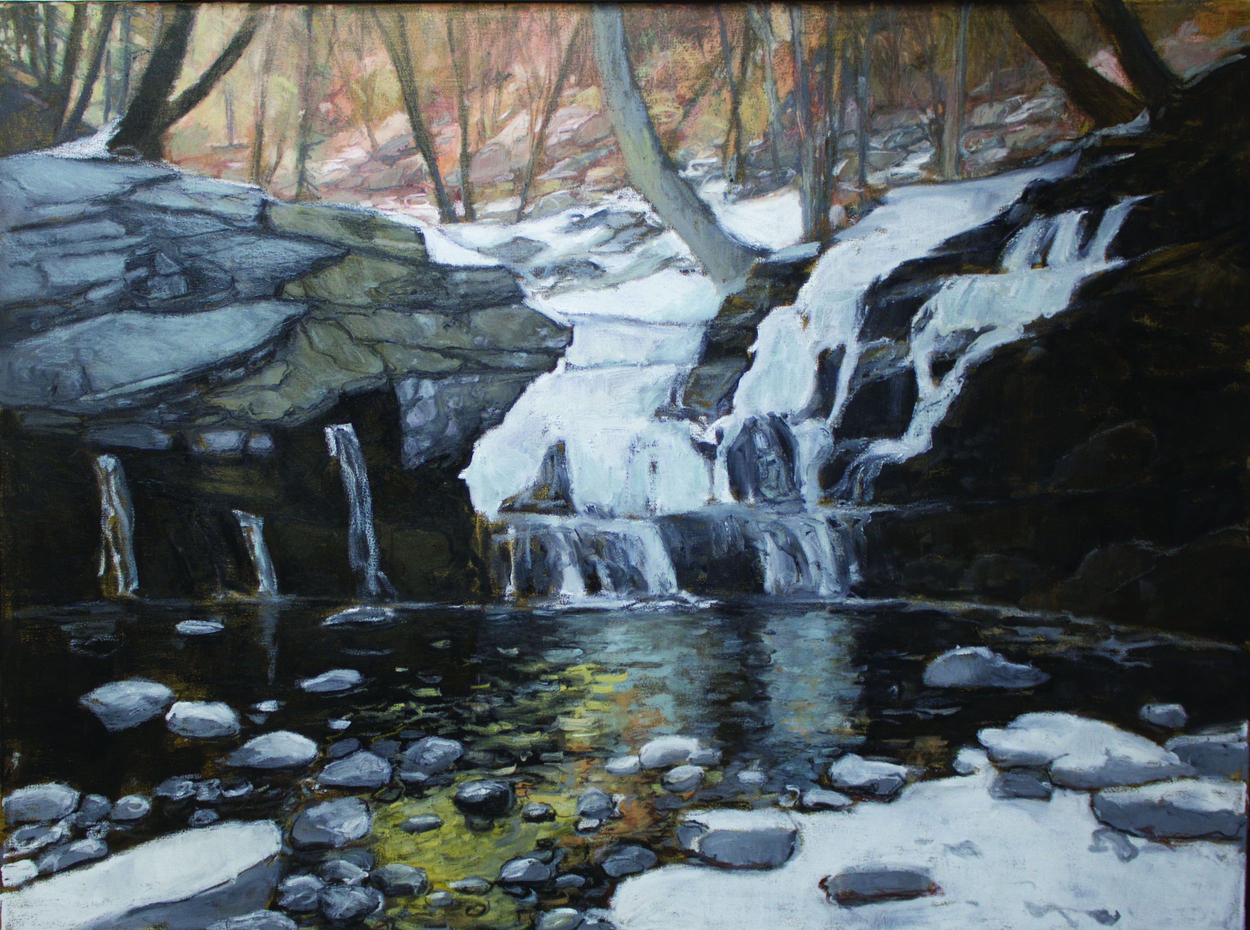 """Frozen"" 32 x 42, oil pastel on canvas"