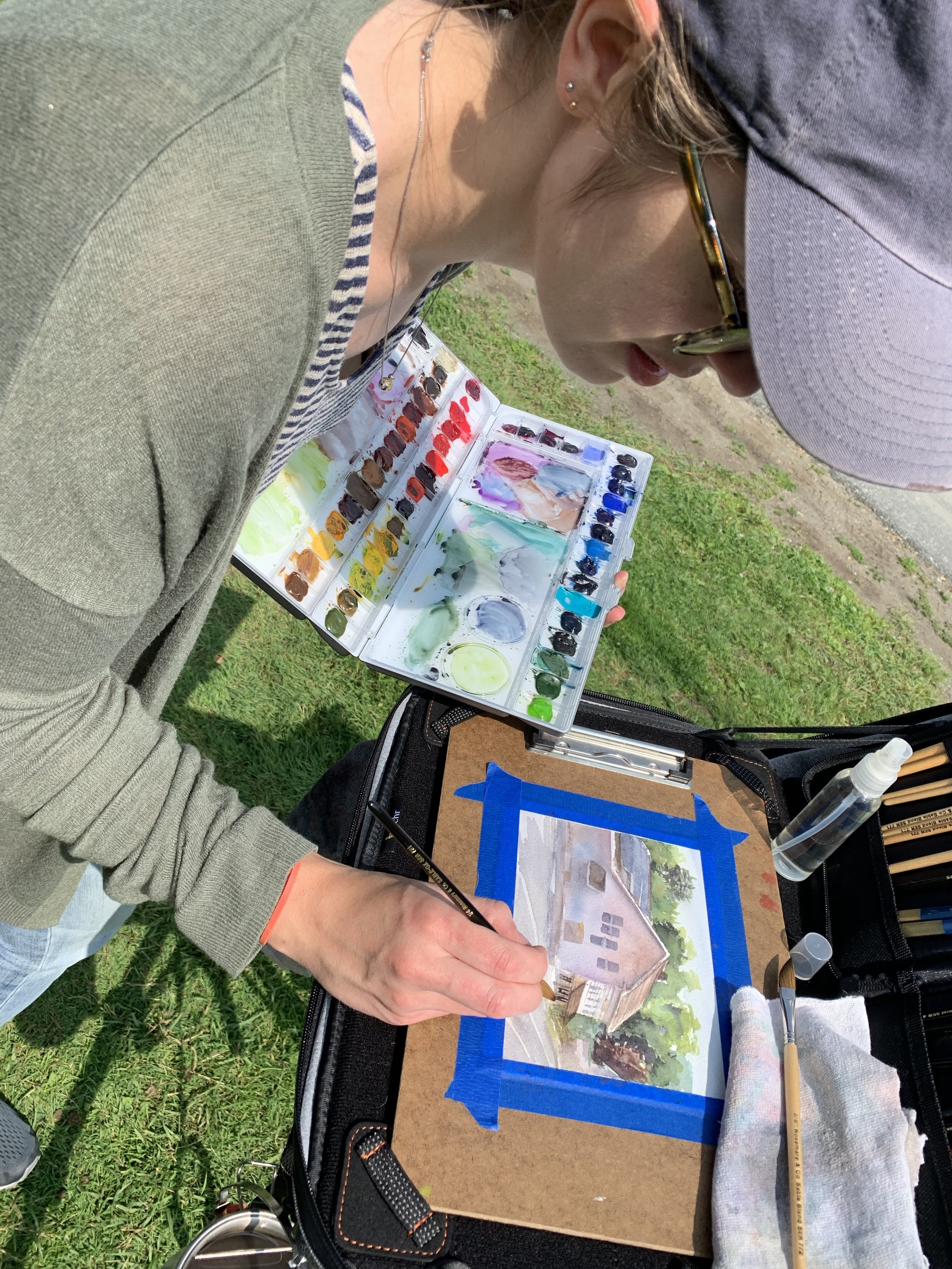 Painting in West Stockbridge as part of the Guild of Berkshire Artists' Creating Art Outdoors program.