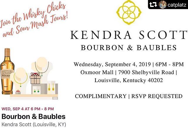 Join us tomorrow, along with our friends from the @whiskychicks and @kendrascott, for Bourbon & Baubles! We've curated a tasting bar for the event to celebrate National Bourbon Month. Plus, get 15% off your purchase from #KendraScott! 🥃💎 Complimentary RSVP in bio (select 'Day One')!