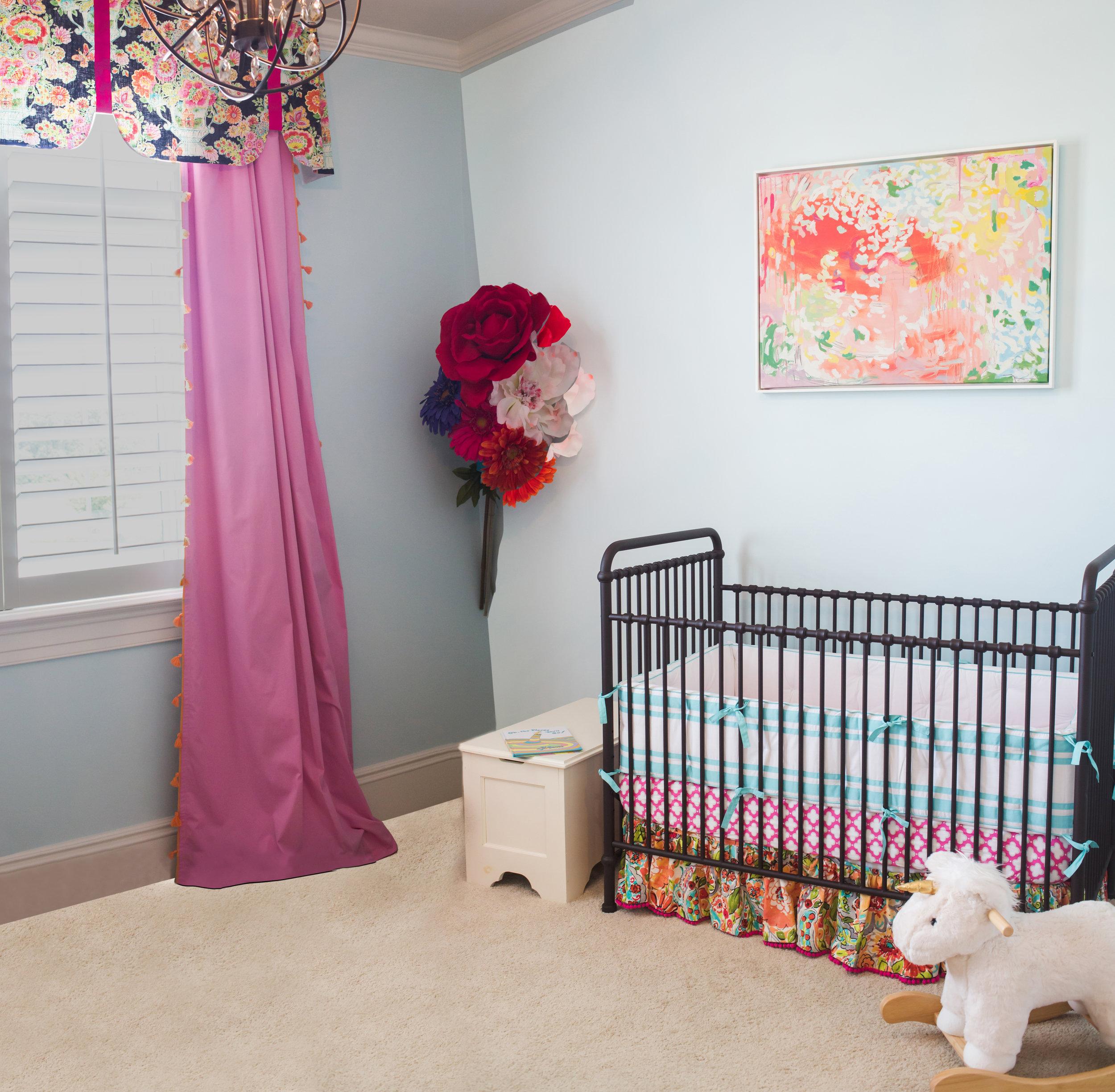 ellebrightdesigns.nursery.floral.layeredcribskirt