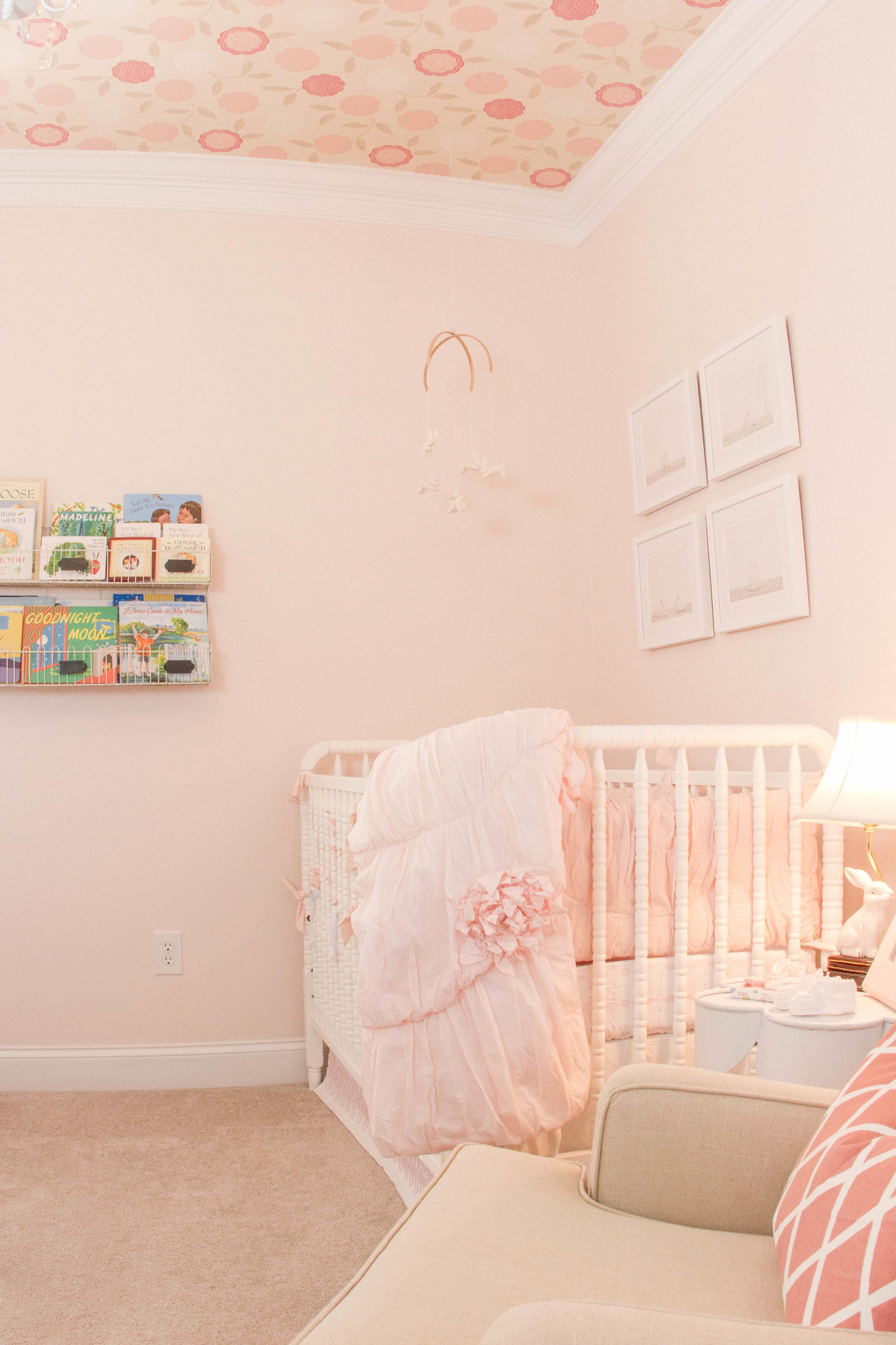 ellebrightdesigns.floralwallpaper.wallpaperceiling.pinknursery