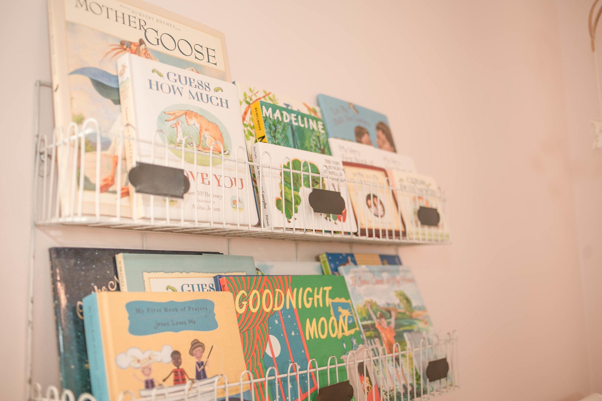EllebrightDesigns.pinknursery.bookshelves