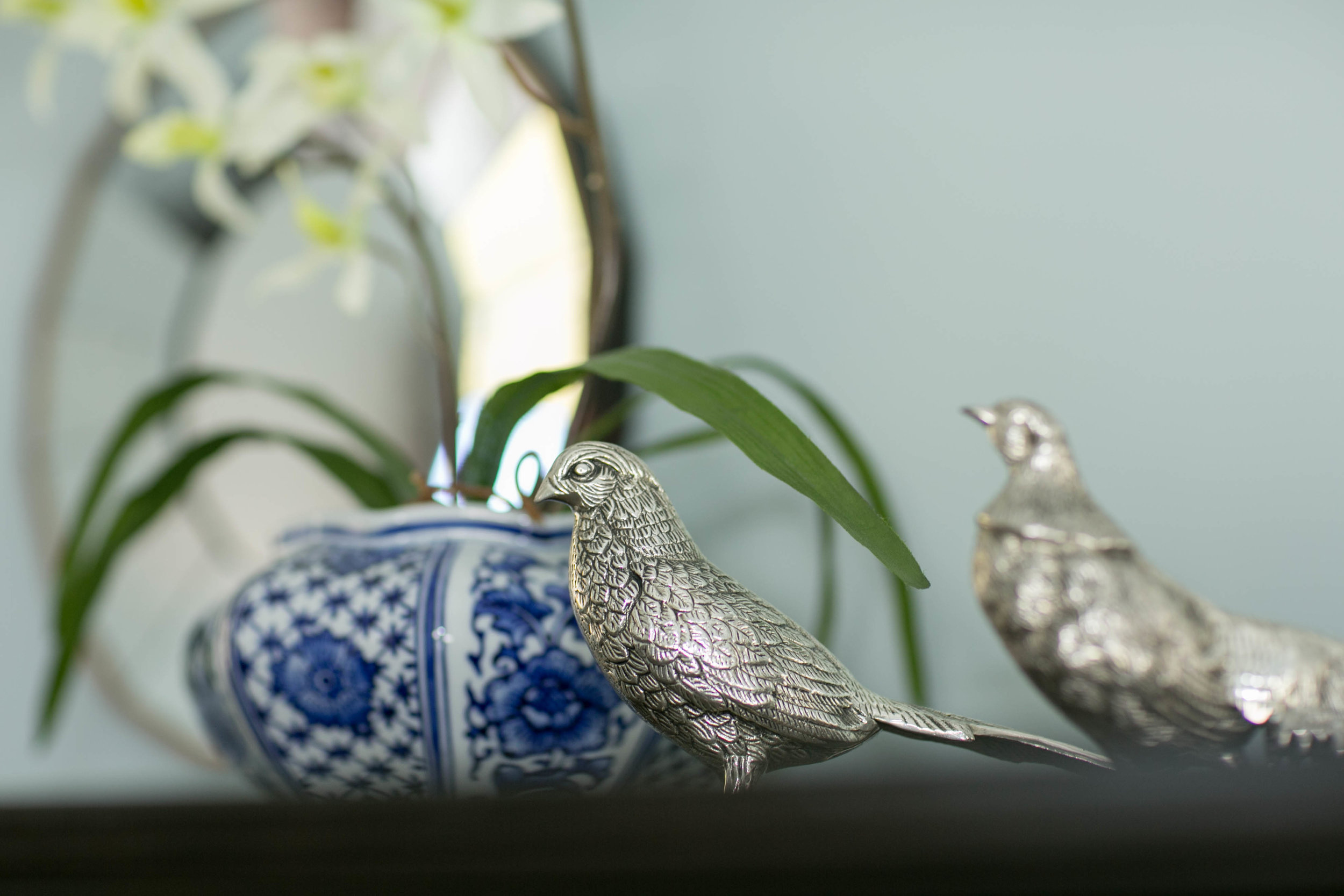 EllebrightDesigns.pewterpheasants.blueandwhiteorchid
