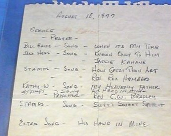 The hand-written order of service for Elvis Presley's funeral