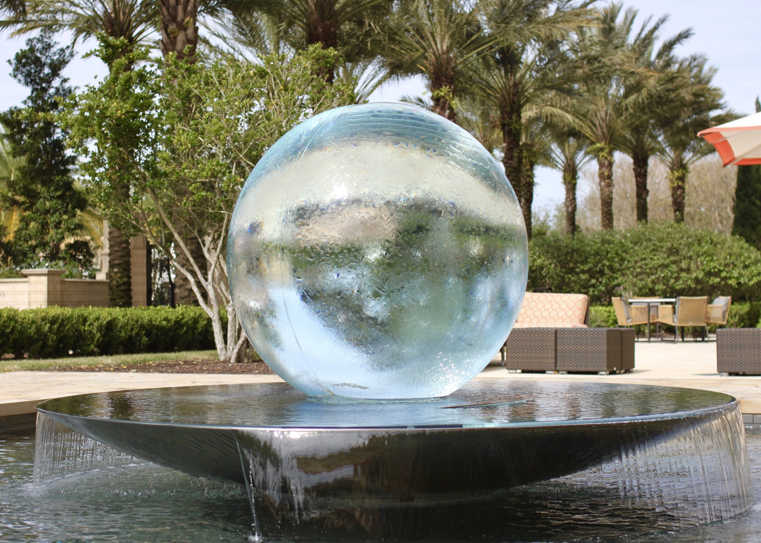The beautiful giant crystal ball fountain.