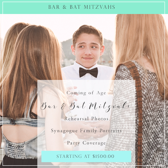 Bar & Bat Mitzvahs - Photographing a coming of age celebration is an honor. From the anticipation of the rehearsal-the moments leading up to your daughter or son becoming an adult in the eyes of your community, to all the joy and dancing at the party; it's the reason I refer to this genre of photography service as