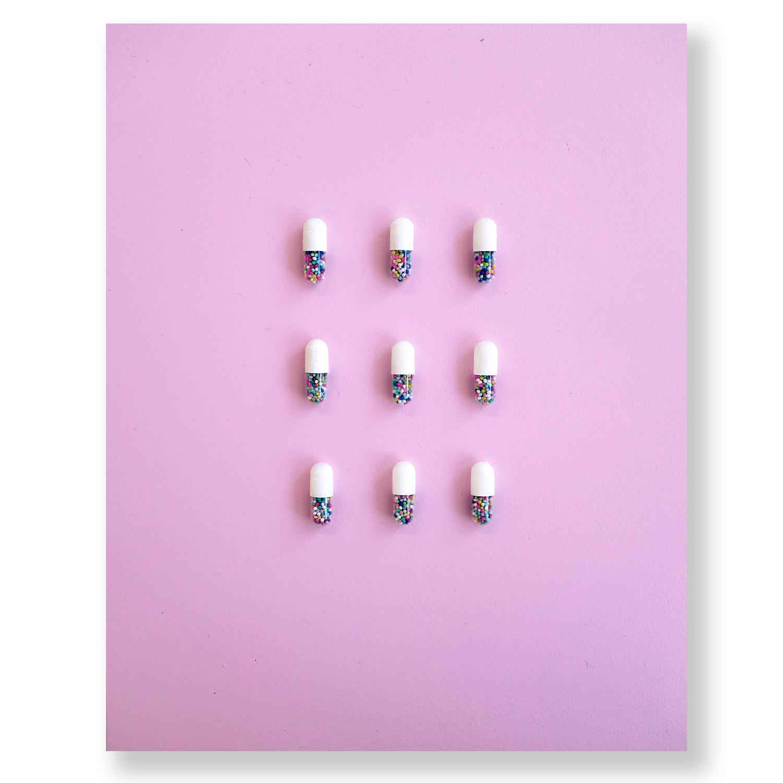 """White Happy Pills on Panel  8"""" x 10"""""""