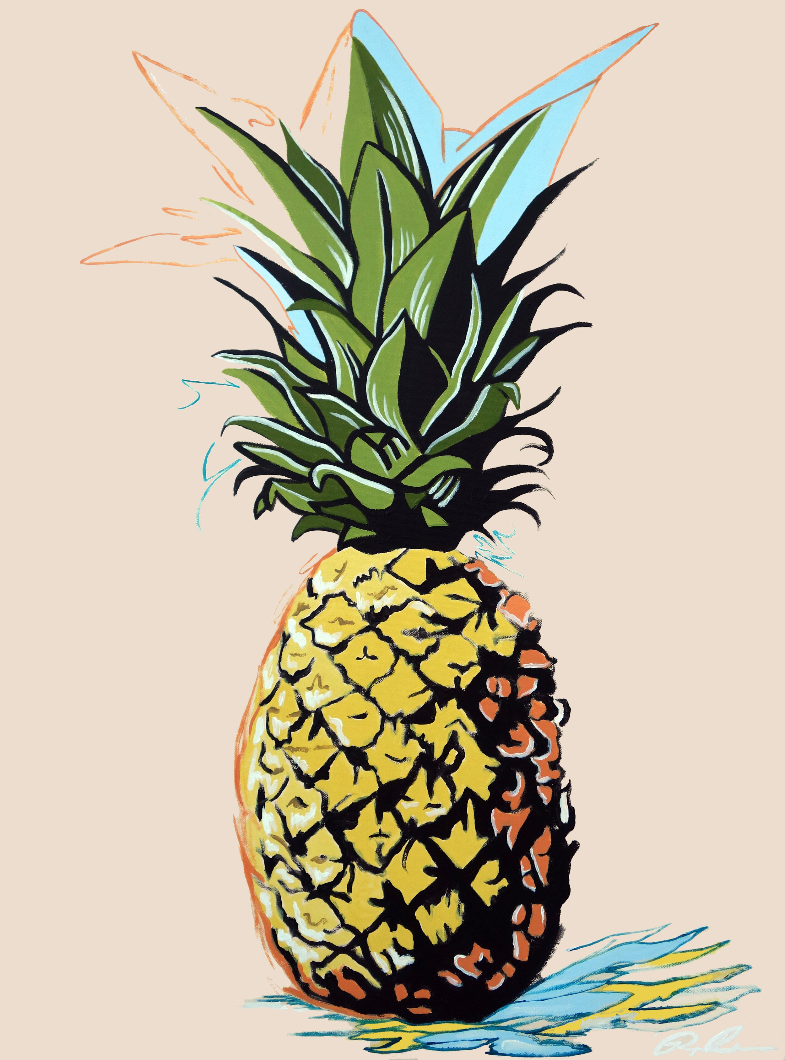 """Pineapple   Oil & Acrylic on Canvas  30 x 40""""  2019   Collected"""