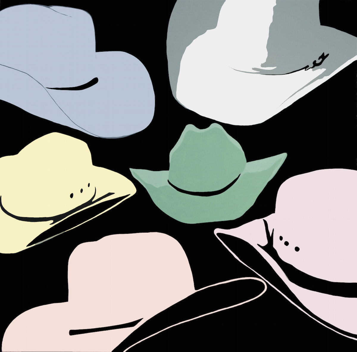"""Cowgirl Hats   Oil & Acrylic on Canvas  48 x 48""""  2018   Collected"""