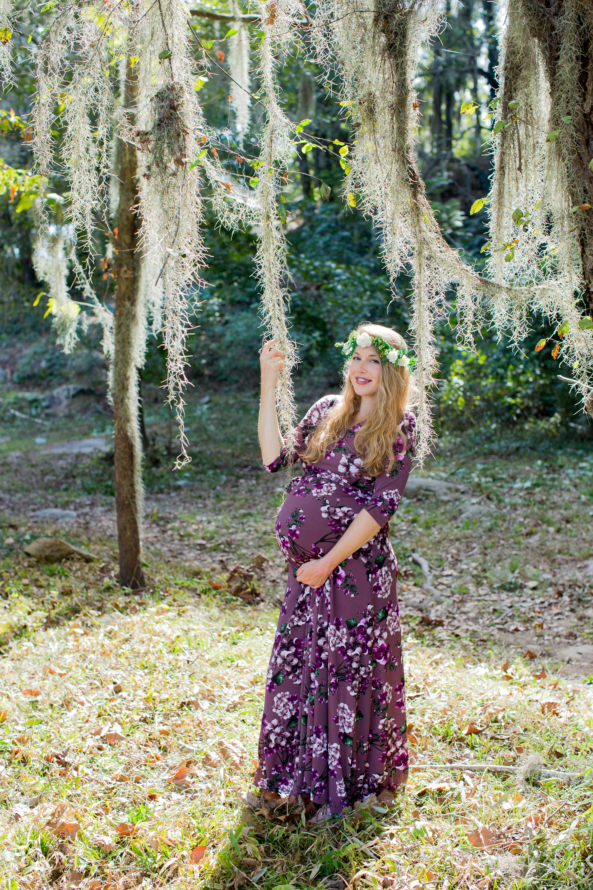 southern romantic floral maternity photo