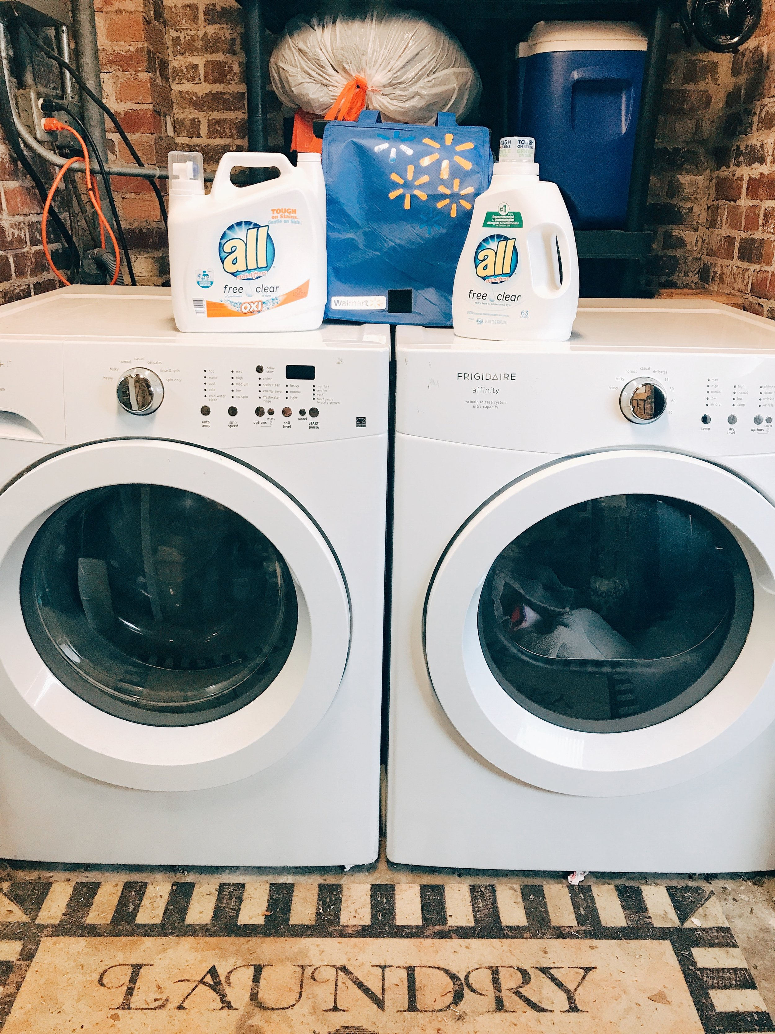Our laundry room is outside. It's in an enclosed area of our carport. It has its pros and cons being outside!