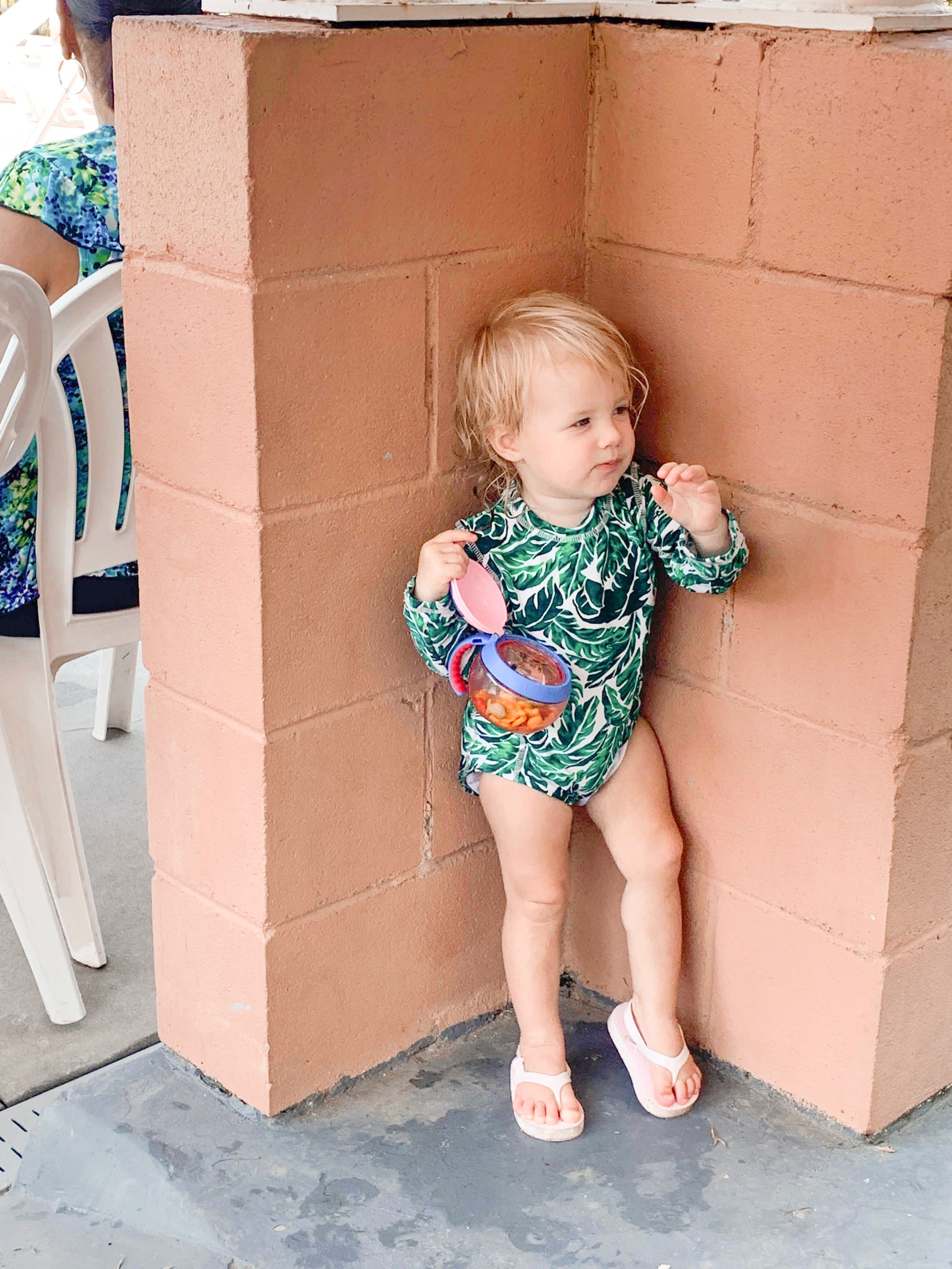 Ginny kept putting herself in 'timeout' with her snacks 🤣. She could only handle swim lessons for 15-20min tops! Just too young at 1.5yrs old!!
