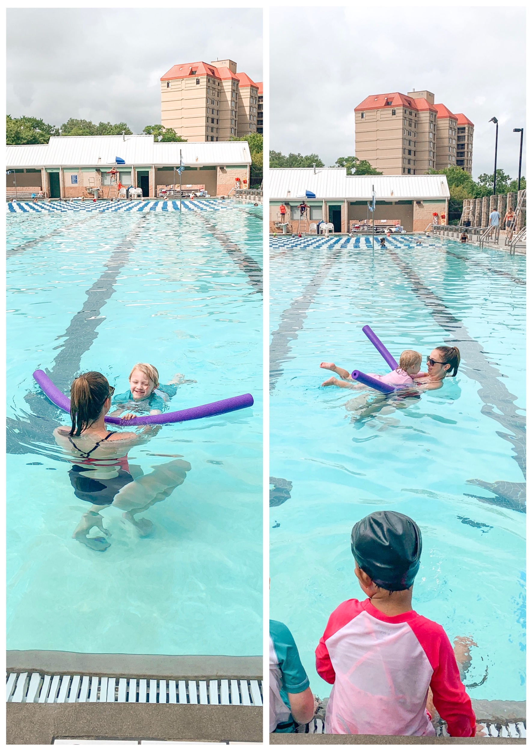 The kids are practicing kicking while holding on to a noodle. They also used a kickboard to do the same thing.