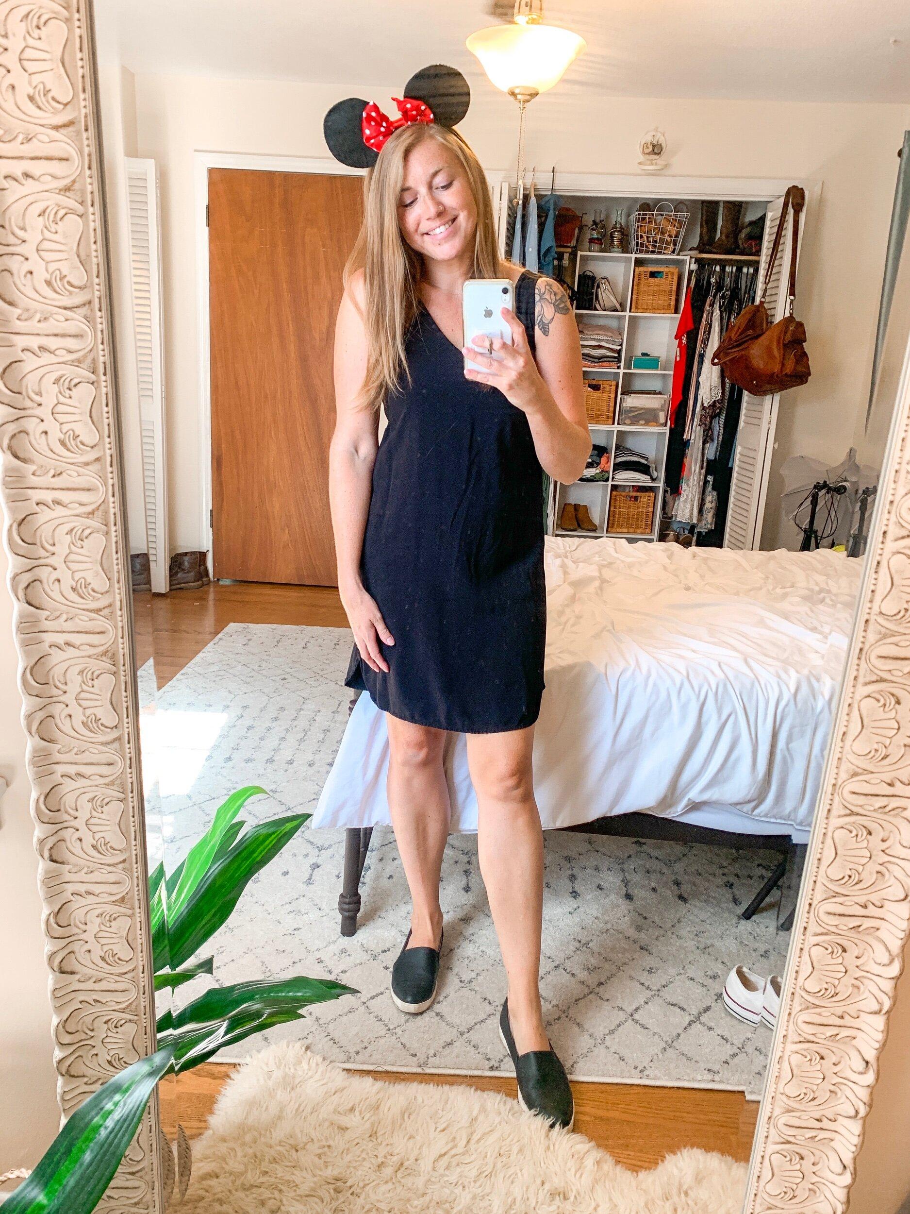 Basic Dress  //  Slide on Sneakers  //  Minnie Ears