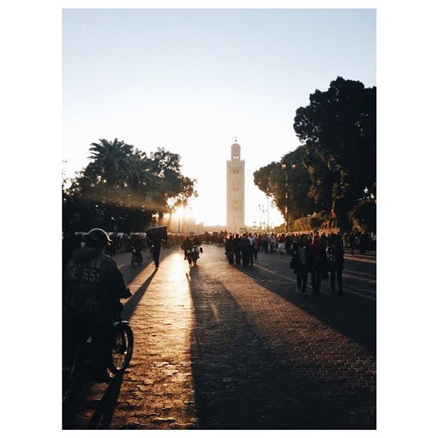 Marrakech sunsets, headed to and from the evening market. There's nothing more promising than a sunset. There is so much life to be lived in the later hours of an evening.