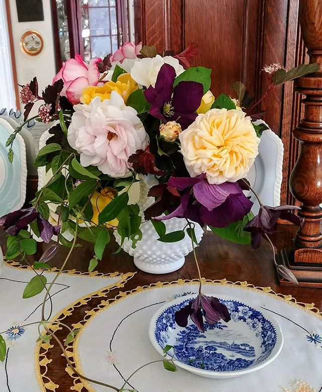 There's nothing like making a bouquet straight from the garden (and while standing IN the garden). Thanks to my parents for planting all those old-fashioned roses years ago. . . . #seattleflorist #seattleweddingflowers #handtied #gardenroses #clematis #laughinggirl #laughinggirlflowers