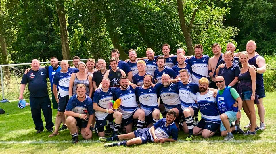The Caledonian Thebans after their victory, winning the Hoagland Bowl at the Bingham Cup 2018, in Amsterdam.