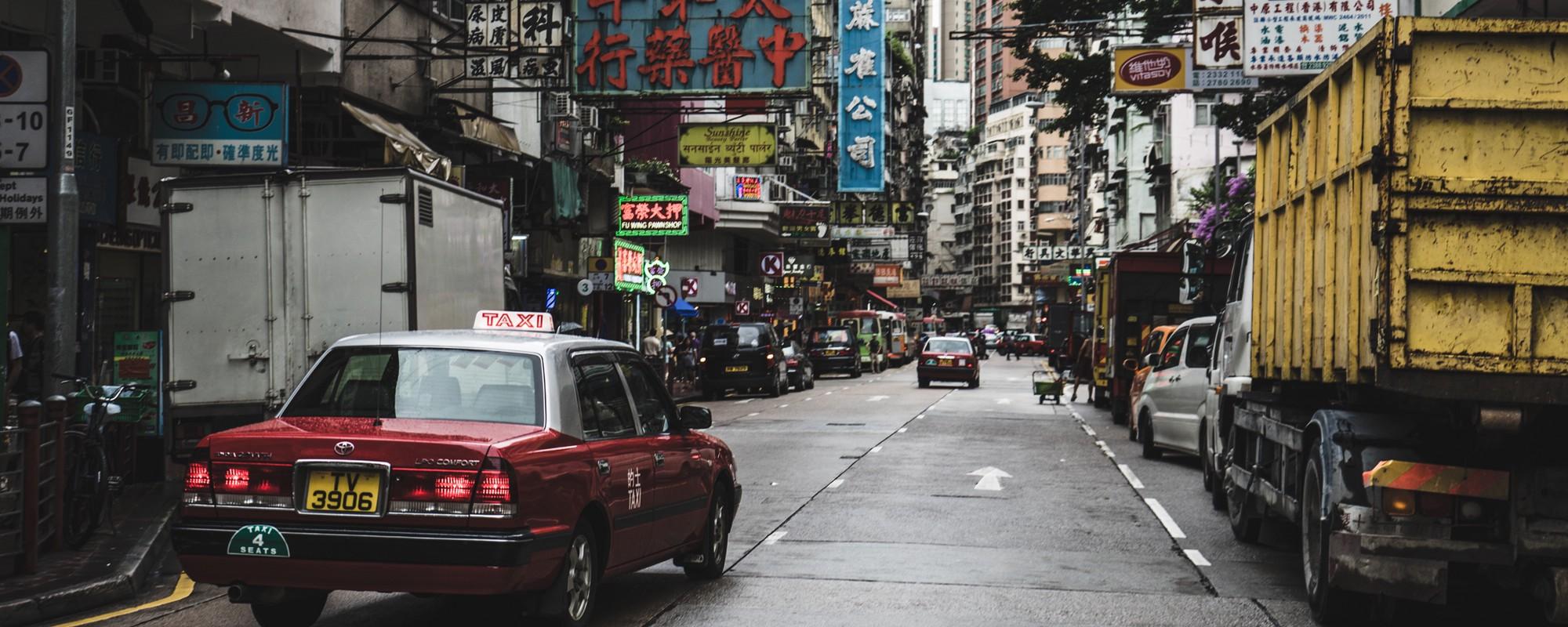 Straatbeeld van China, waar de unu elektrische scooters worden gemaakt