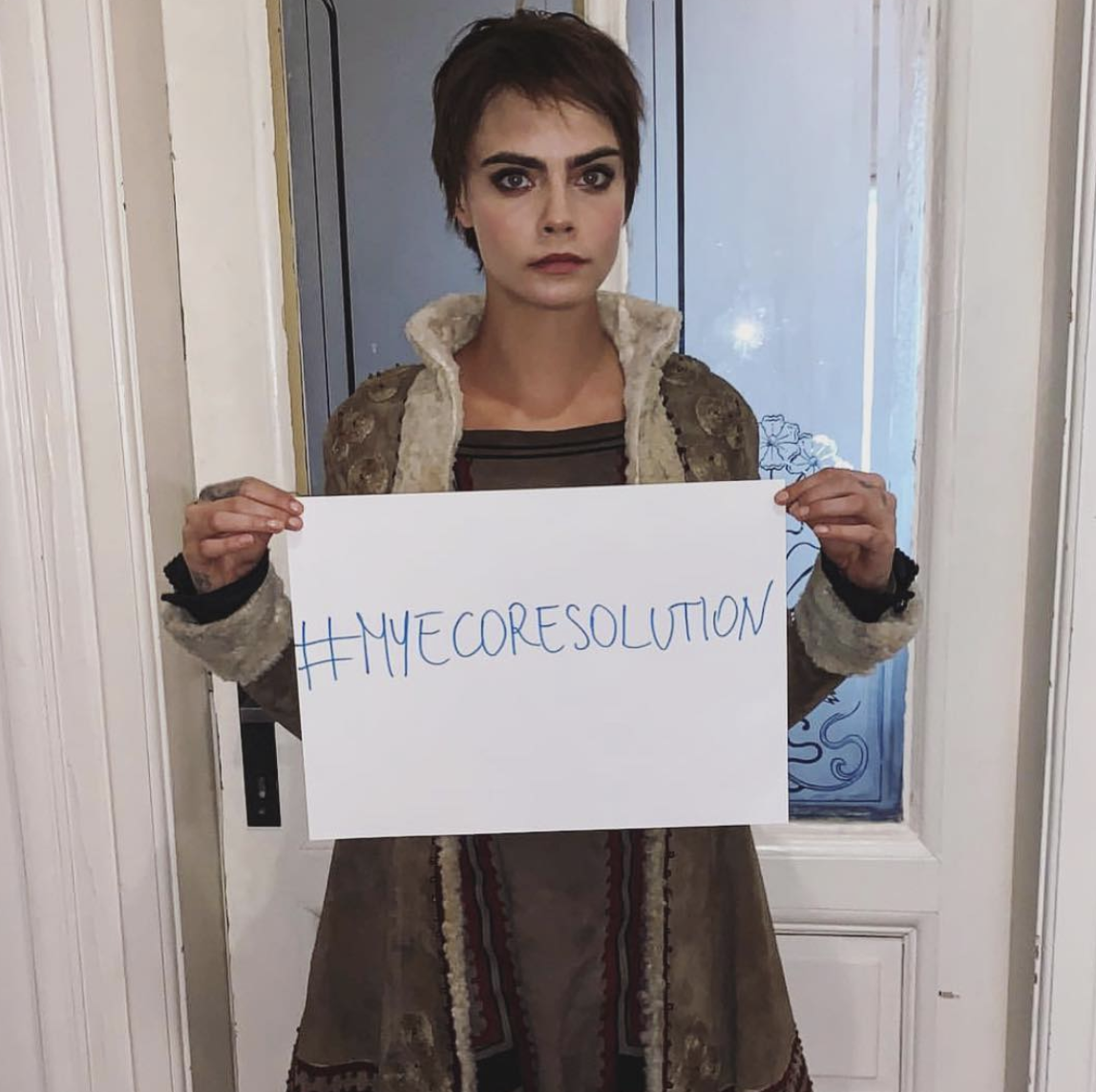 Cara Delevingne says: - #MyEcoResolution is to give up plastic bottles and straws. Even Though I may never be perfectI have made the resolution to create positive change to my daily life, to cut my consumption, to limit catastrophic climate change, and support my mental health. I nominate Kendall Jenner & Miley Cyrus to join the movement!
