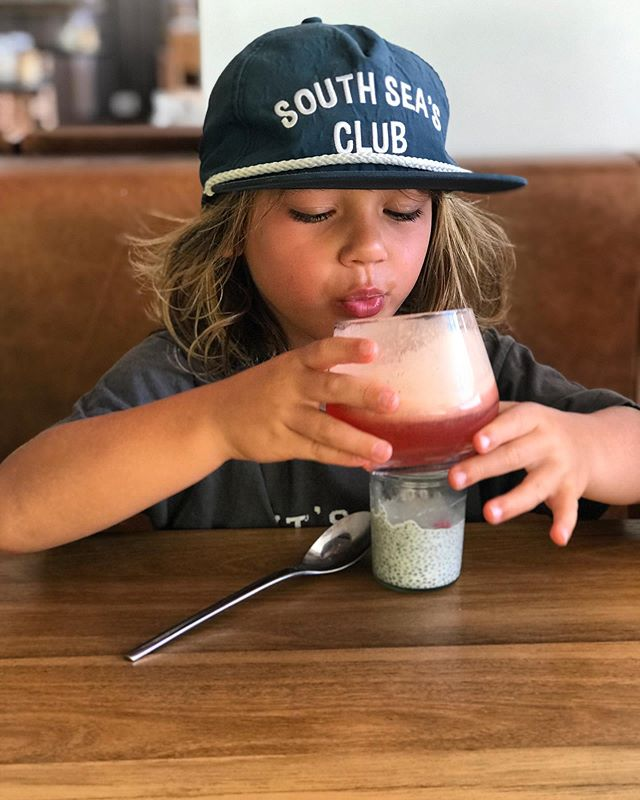 Ziggy loved juicing his own fresh concoctions - with a chia pudding to follow - at breakfast at Pacific.