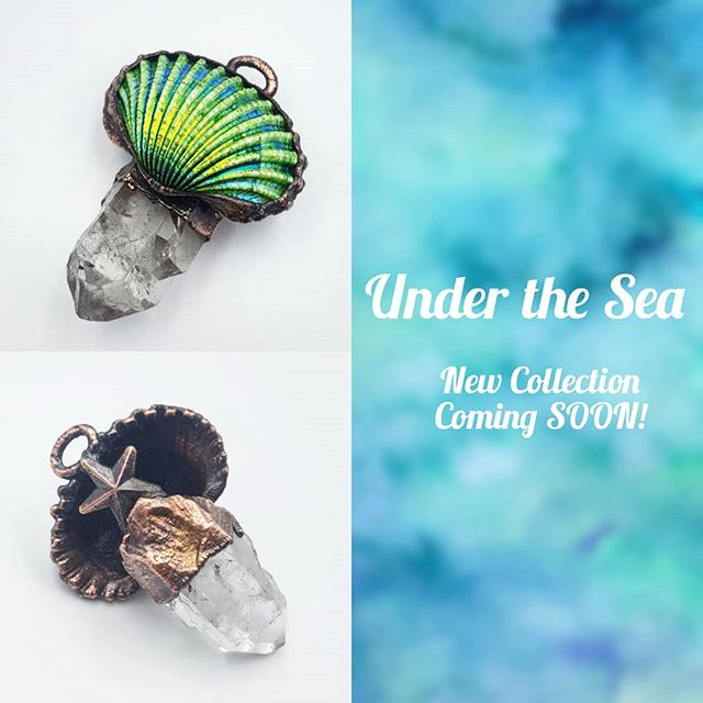 So excited to unveil the first finished piece of my new #UnderTheSea collection. Pictured is one piece, the front and back. It's been a while since I've done a collection, and it feels so good to be back where I should be. Also I want to thank you all for the love received from yesterday's post! I feel it's important to talk about one's mental health, as many of us struggle and it's oddly refreshing to know we're not alone in this. Take everything day by day friends xoxo . . . . . #mermaidsoul #mermaidjewels #mermaid #merman #mermaidjewelry #mermaidlove #starfish #oceaninspired #oceanjewelry #shelljewelry #RealShell #aurashell #aurashells #quartzjewelry #quartzpoint #clearquartz #green #greenshell #shell #inspiredbynature