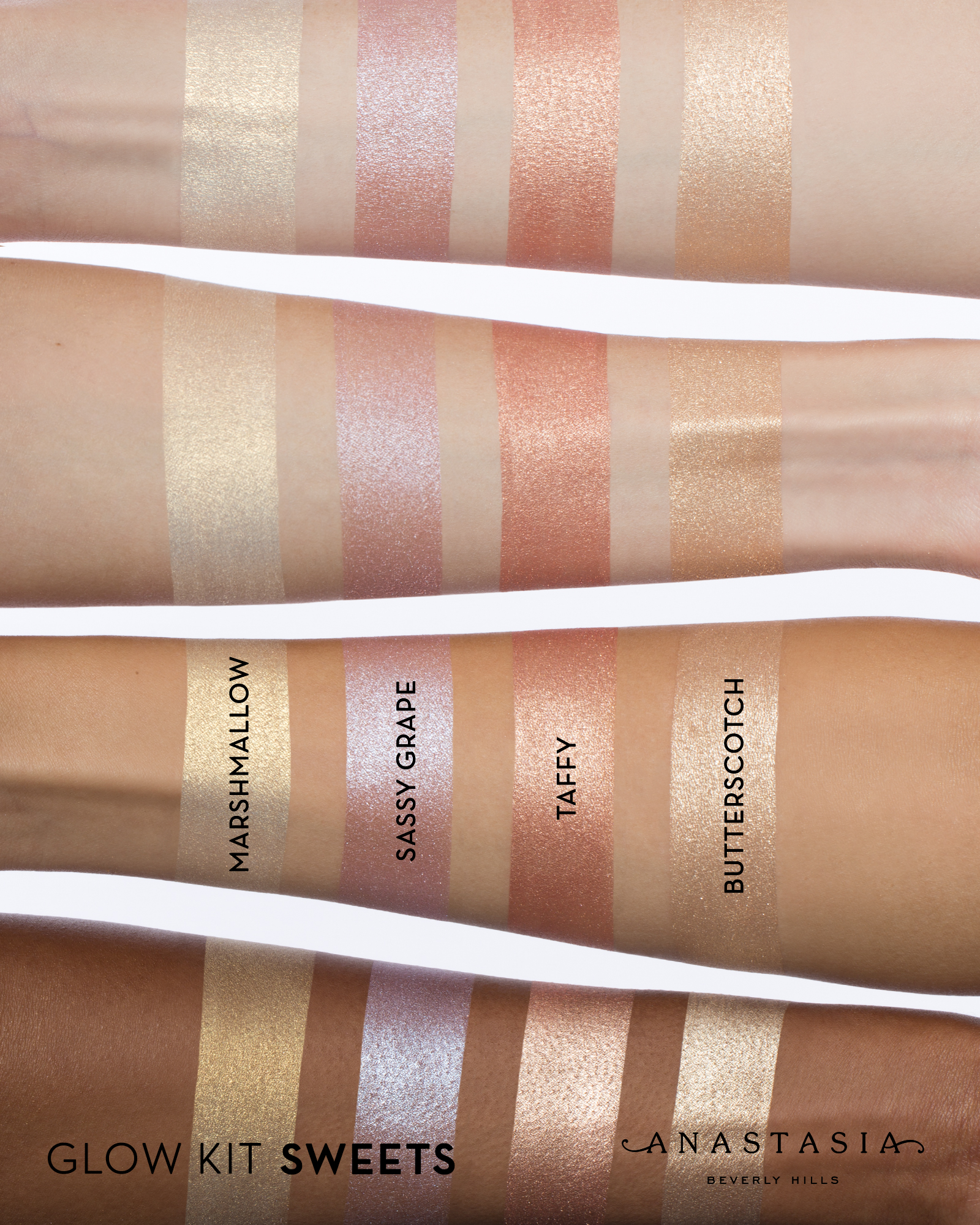 Step out of your comfort zone and try one of these fun colored highlighters from the Sweets Glow Kit.