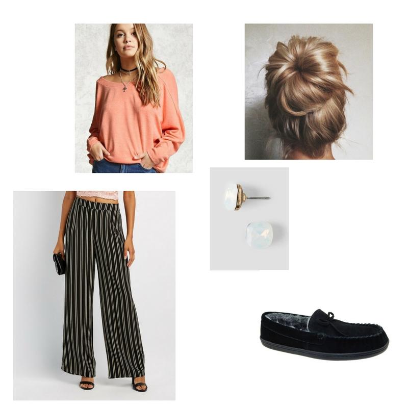 Sweater -  Forever 21  $19, wide leg pants -  Charlotte Russe  $18, earrings -  Francesca's  $12, slippers -  Walmart  $13.