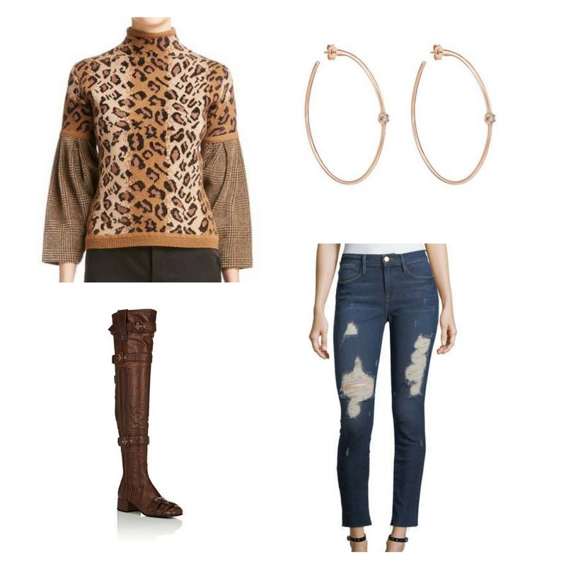 Turtleneck sweater -  Nordstrom  $890, skinny jeans -  Neiman Marcus  $225, boots -  Prada  $2,450, hoop earrings -  Carbon & Hyde  $2,300.