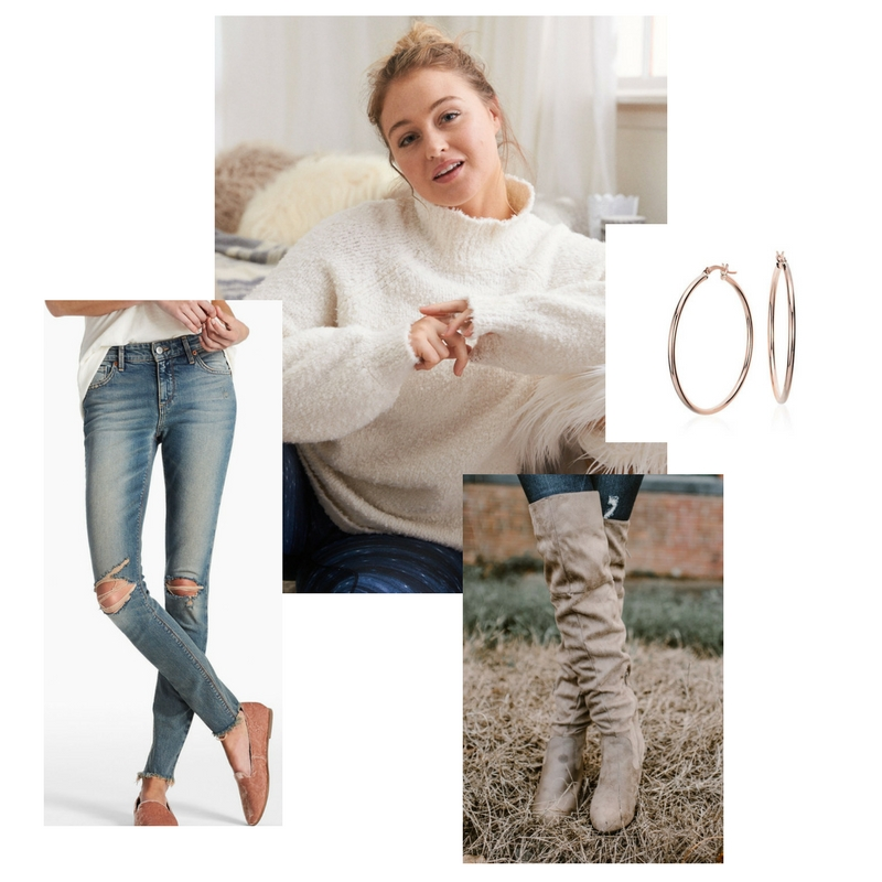 Turtleneck sweater -  American Eagle  $33, jeans -  Lucky Brand Jeans  $40, over the knee boots -  Ruthie Grace Boutique  $60, hoop earrings -  Kohl's  $18.