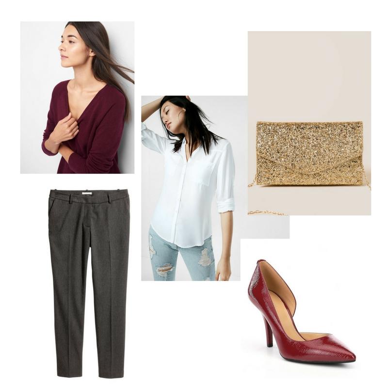 V-neck sweater -  Gap  $42, button down shirt -  Express  $50, tailored pants -  H&M  $30, Pumps -  Michael Kors  $60, glittery bag -  Francesca's  $38.