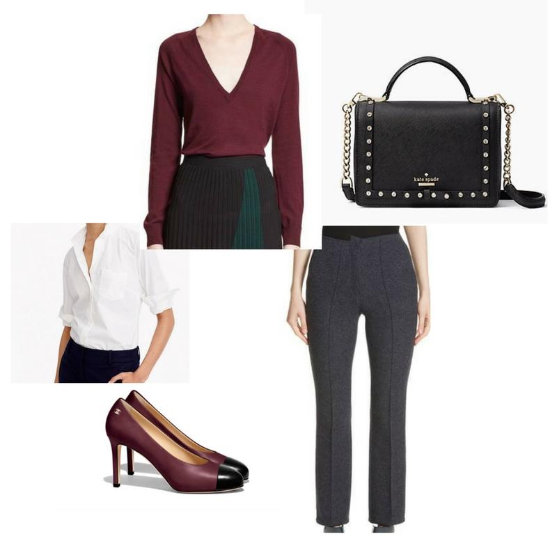 V-neck sweater -  Nordstrom  $525, button down shirt -  J Crew  $70, tailored pants -  Nordstrom  $913, bag -  Kate Spade  $228, pumps -  Chanel  $800.