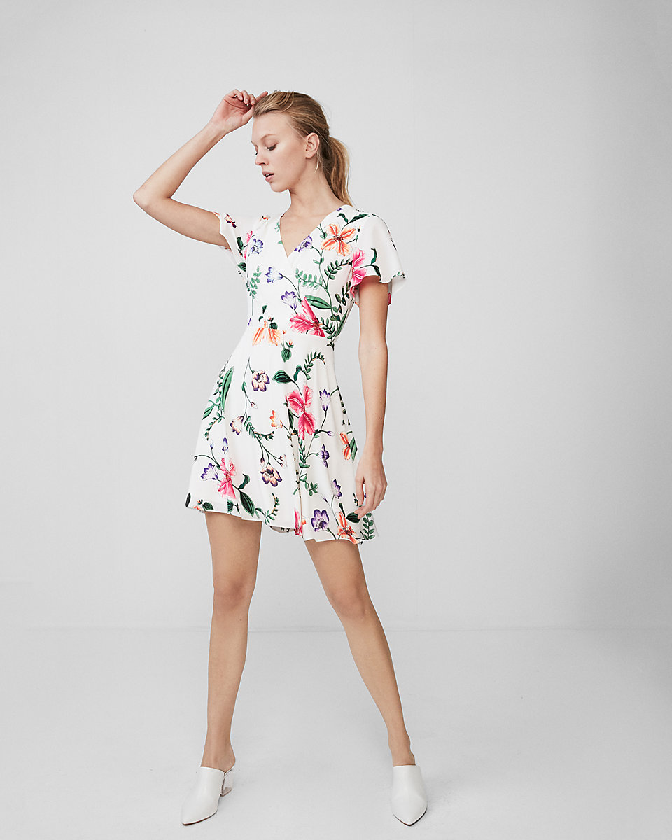 Floral Surplice Flutter Sleeve Fit & Flare Dress  $60