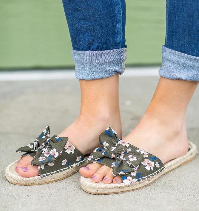 Cute floral slip on sandals,  Filly Flair Boutique  $41