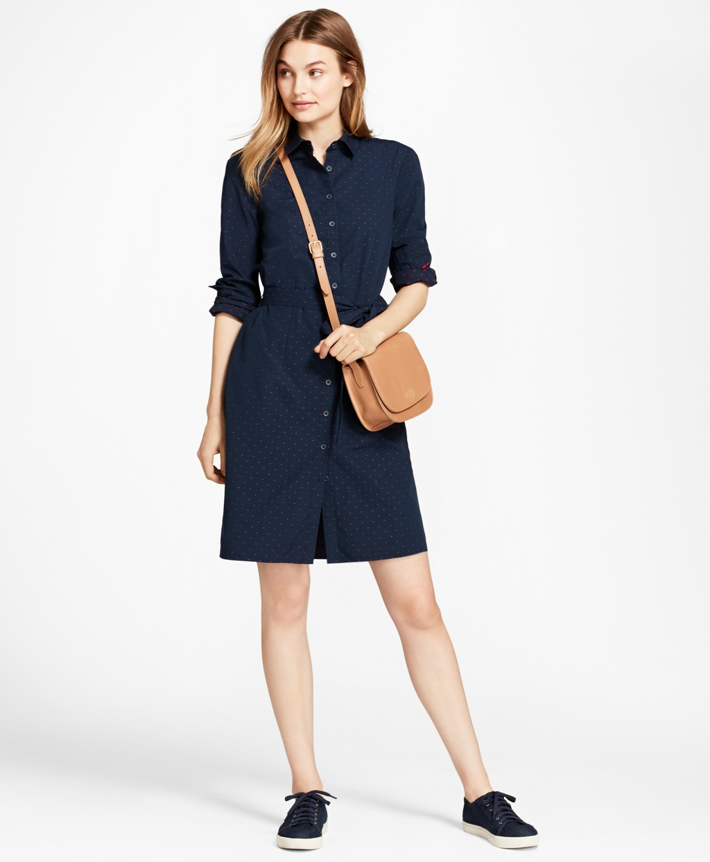 Brooks Brothers  Dobby-Dot Cotton Shirt Dress $49.