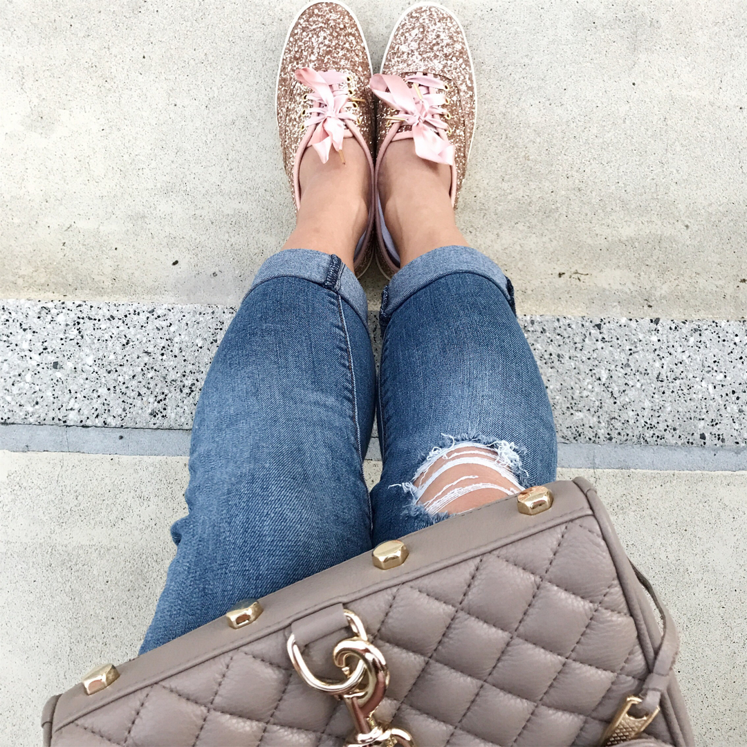 Loving these rose gold sneakers!