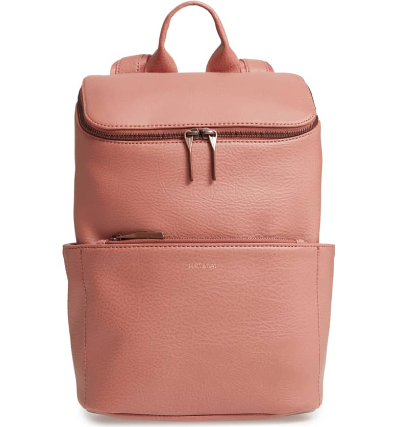"Matt & Nat ""Brave"" Faux Leather Backpack - Fit all your needs, like a 13 inch laptop, water bottle, wallet, phone keys and more! I adore this clay color, it is simple and chic! It comes in 4 other colors for $145."