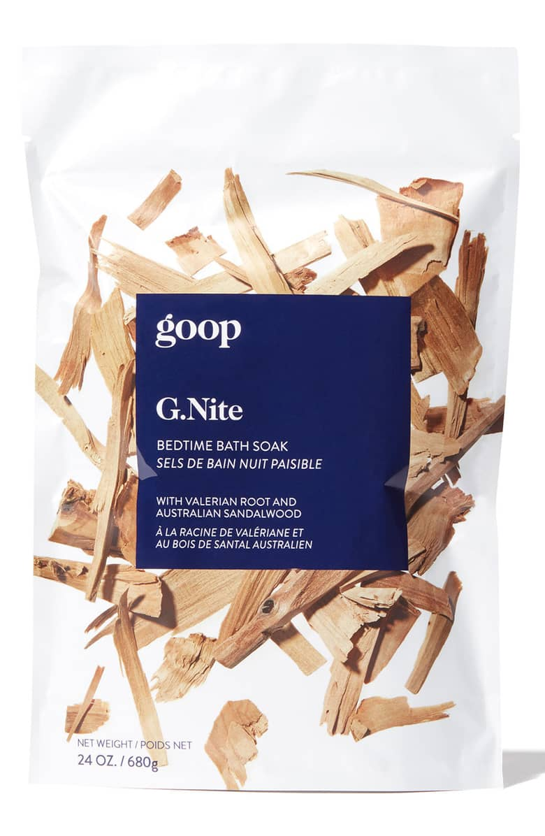 Goop G.nite Bedtime Bath Soak - Goop has come up with a sleep potion! A fragrant, restorative bath soak made with premium Epsom and sea salts; an array of botanicals including valerian, passionflower and hops; and essential oils including sandalwood, lavender and spikenard. Perfect for promoting calm, comfort and relaxation, and helping you get a great night's sleep.$35