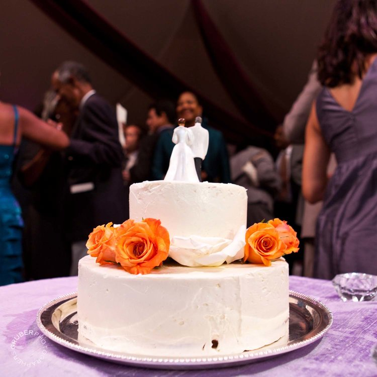 The white traditional wedding cake