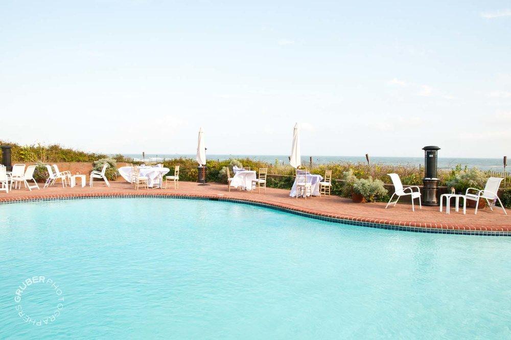 Poolside, oceanside.