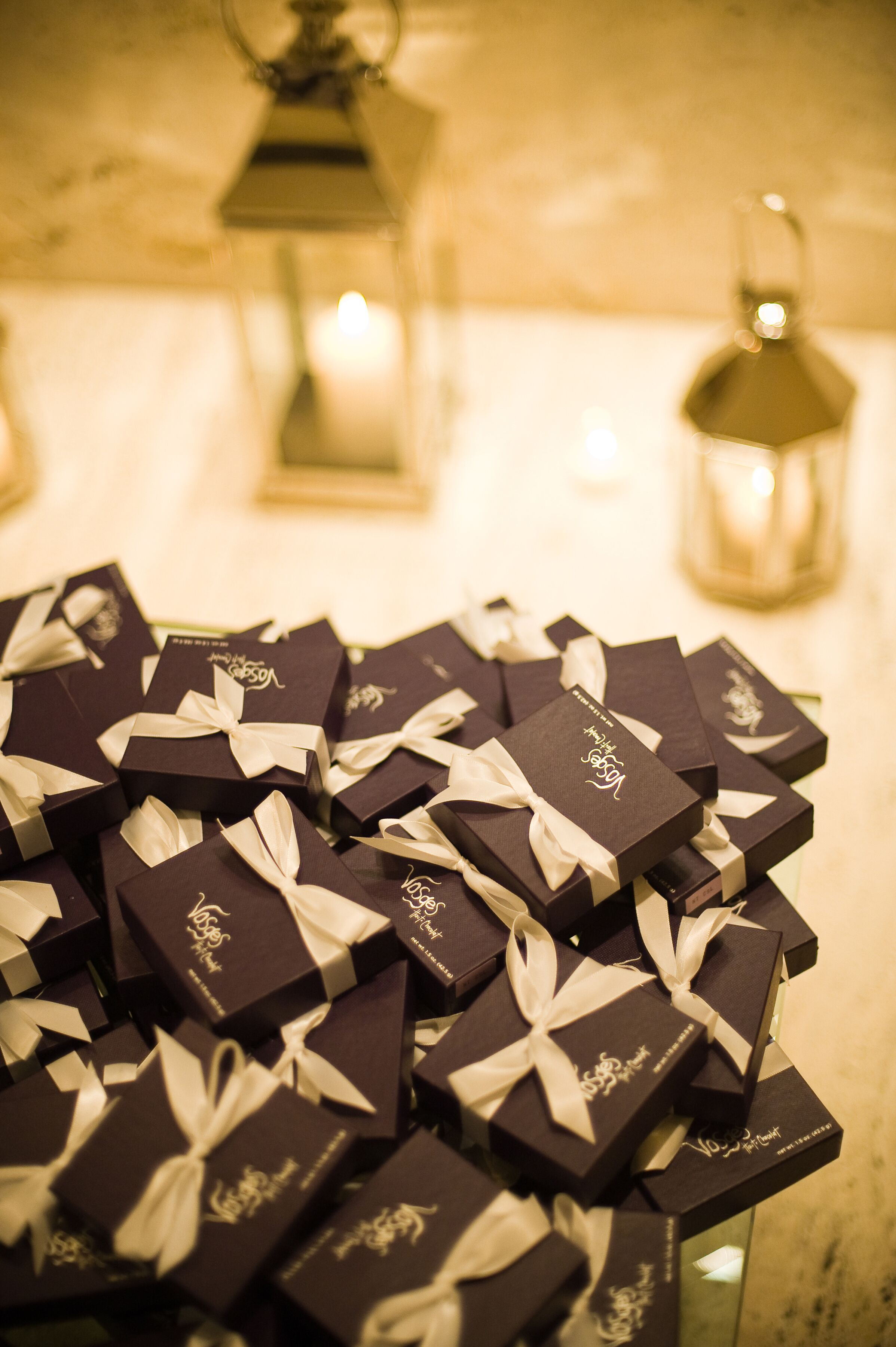 A box of custom matches for guests