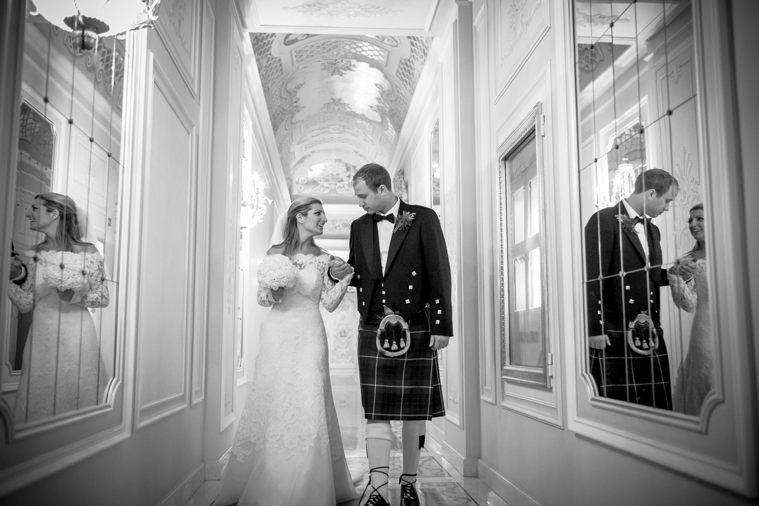 Black and white photo of the happy couple on their wedding day