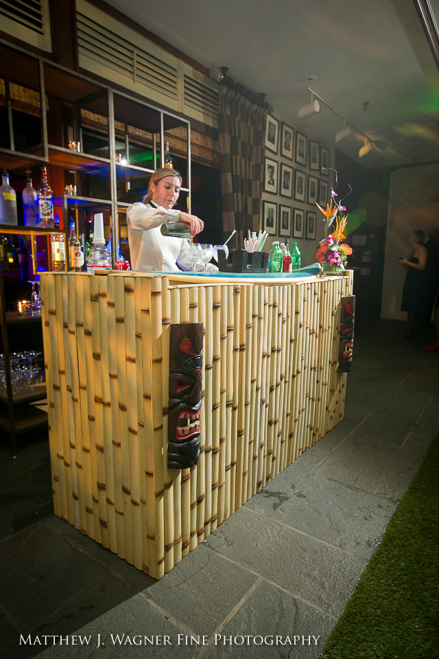 A tiki-style bar for the parents to enjoy
