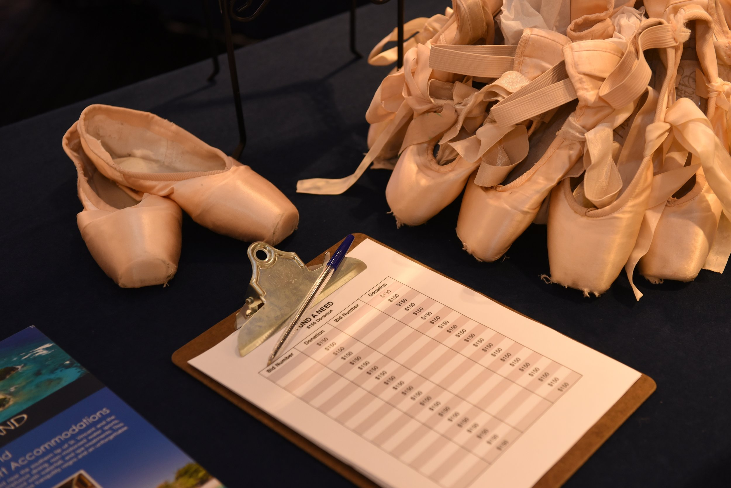Auction materials at the University of Hartford Hartt School Gala