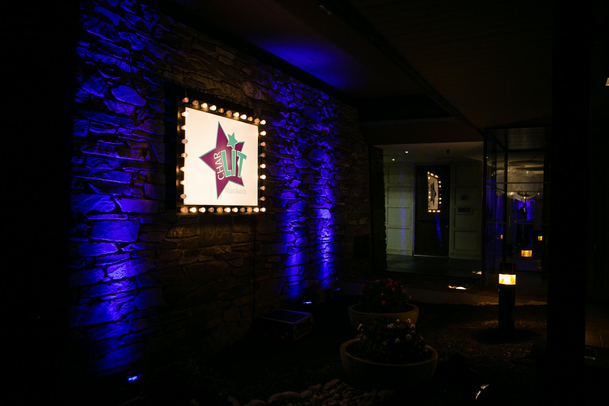 Blue lighting details at client bat mitzvah