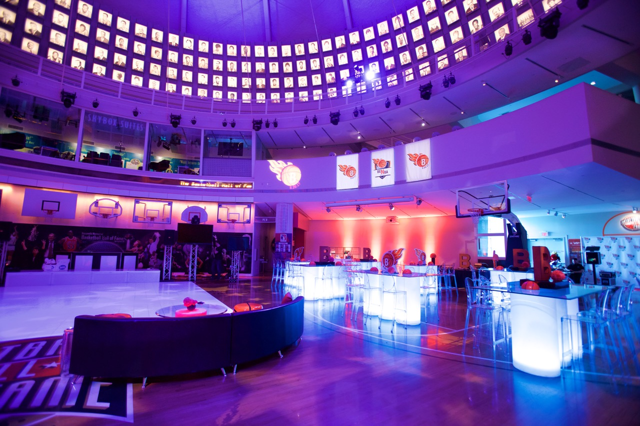 Lighting design, client Bar Mitzvah at the Basketball Hall of Fame