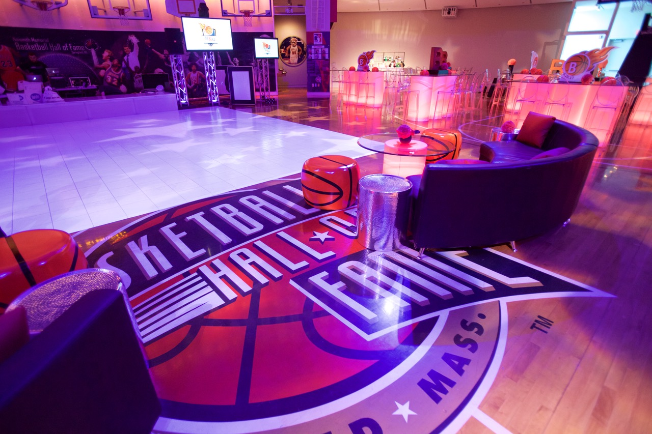 Furniture detail, Bar Mitzvah at the Basketball Hall of Fame
