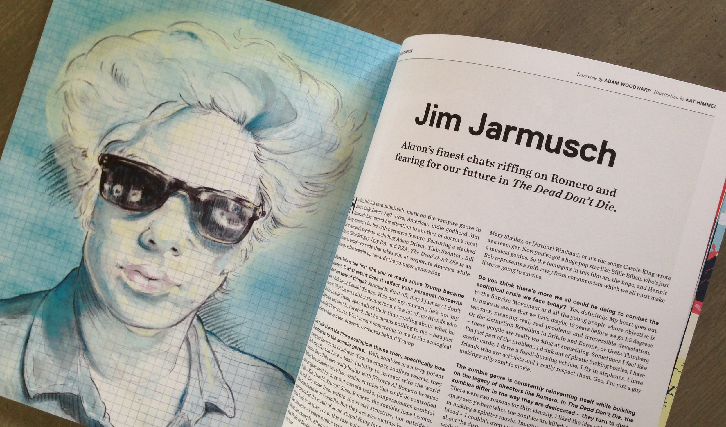 portrait of director, jim jarmusch, for  little white lies  film magazine's special kinerama edition (number 80)