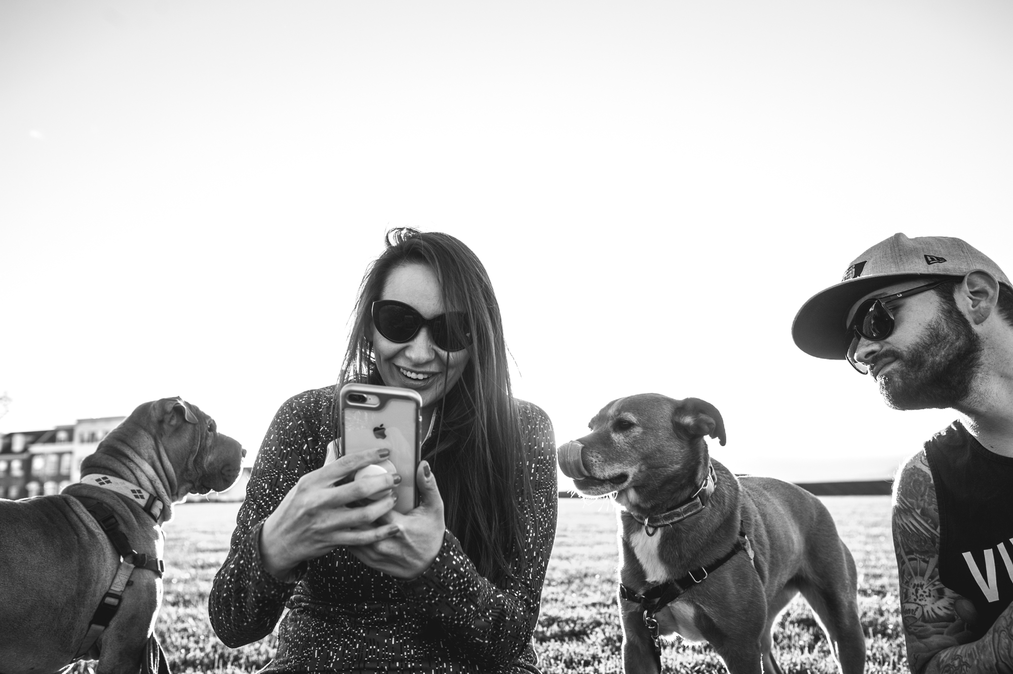 A woman looks at her phone while her dog, licking its face, looks on and her husband leans over to see it, black and white, Stapleton, CO